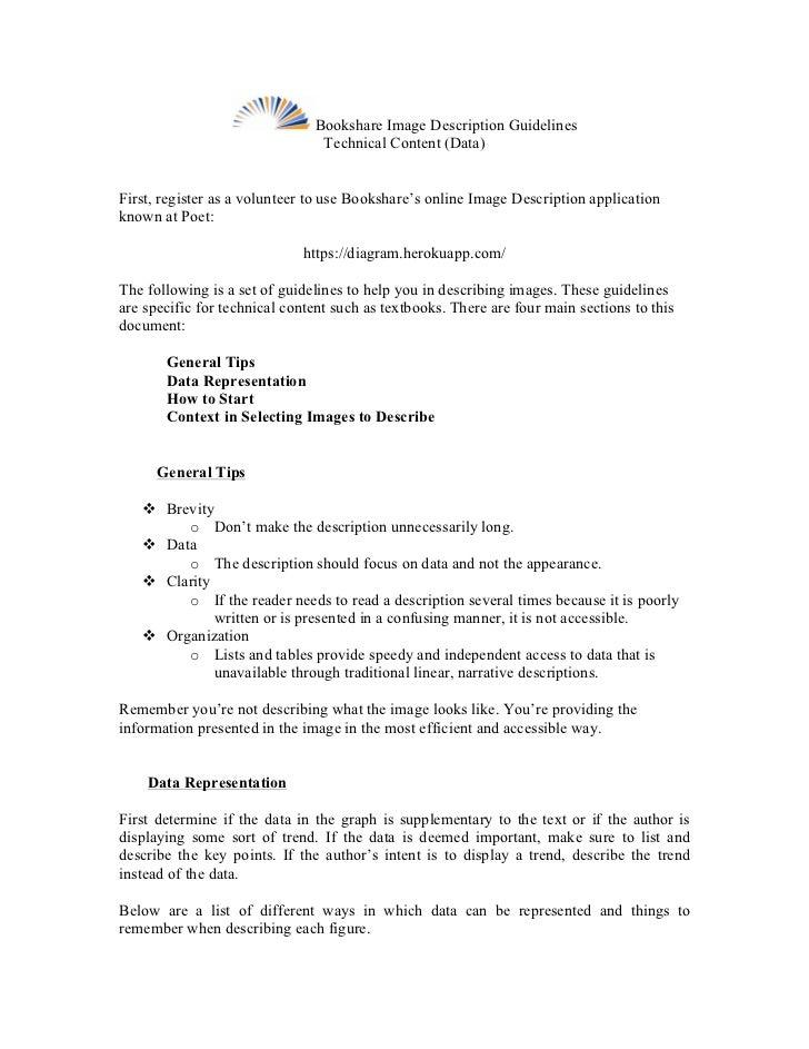 Bookshare Image Description Guidelines                                Technical Content (Data)First, register as a volunte...