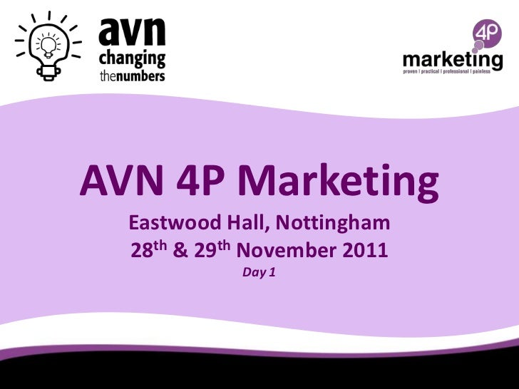 AVN 4P Marketing  Eastwood Hall, Nottingham  28th & 29th November 2011            Day 1