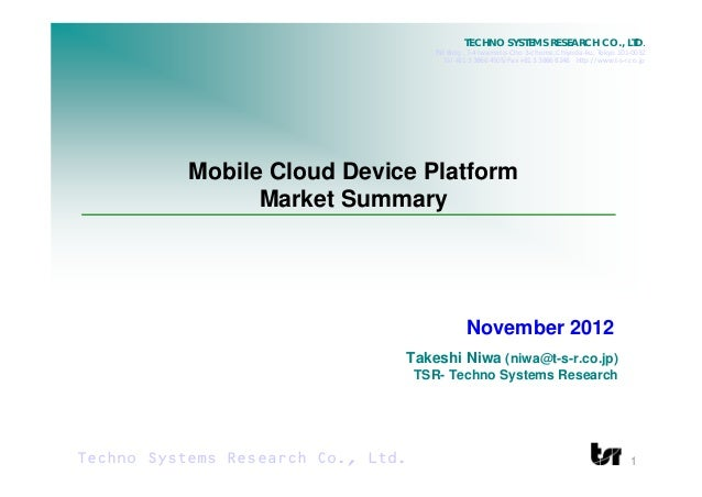 TECHNO SYSTEMS RESEARCH CO., LTD.                                      TSR Bldg., 7-4 Iwamoto-Cho 3-chome,Chiyoda-ku, Toky...