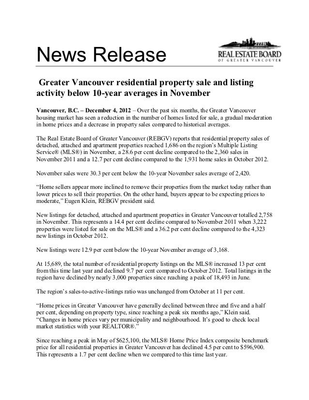 News Release Greater Vancouver residential property sale and listingactivity below 10-year averages in NovemberVancouver, ...