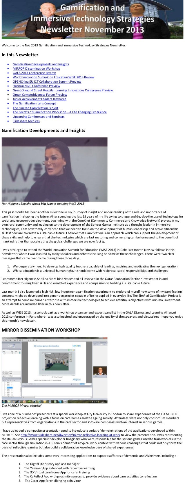 Welcome to the Nov 2013 Gamification and Immersive Technology Strategies Newsletter.  In this Newsletter         ...