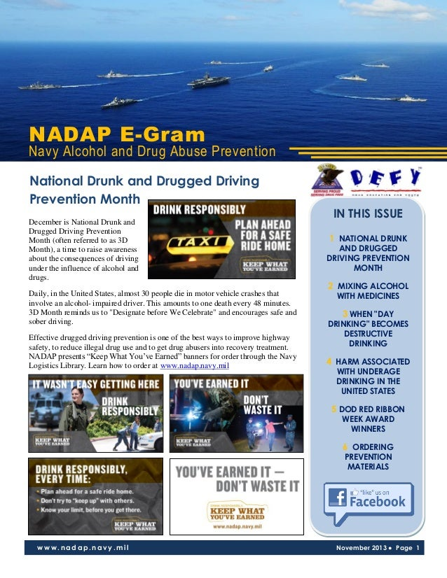 NADAP E-Gram  Navy Alcohol and Drug Abuse Prevention National Drunk and Drugged Driving Prevention Month December is Natio...