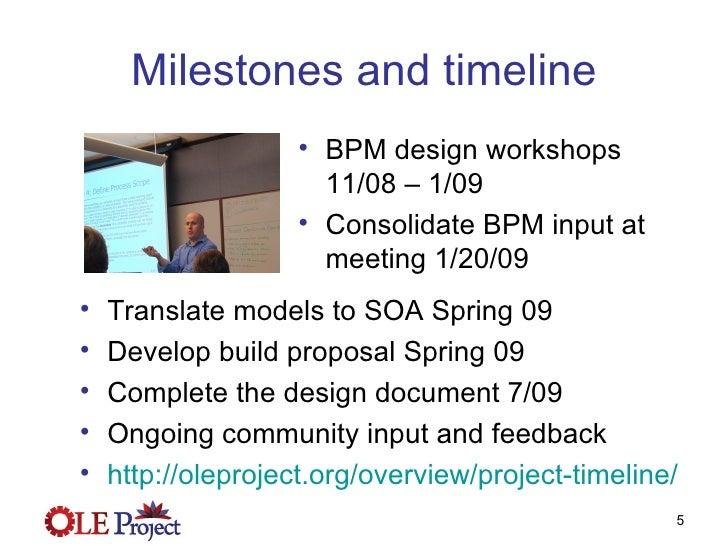 Milestones and timeline <ul><li>BPM design workshops 11/08 – 1/09 </li></ul><ul><li>Consolidate BPM input at meeting 1/20/...