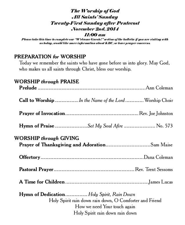 The Worship of God at Knightdale Baptist Church Nov 2nd 2014 bulletin