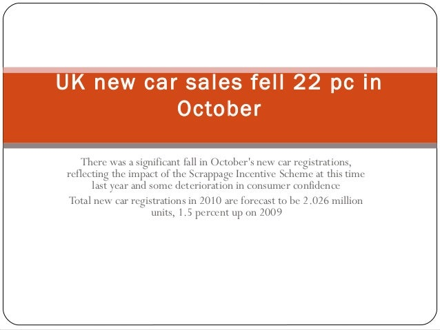 There was a significant fall in October's new car registrations, reflecting the impact of the Scrappage Incentive Scheme a...