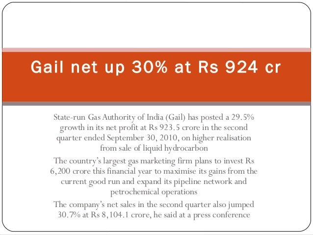 State-run GasAuthority of India (Gail) has posted a 29.5% growth in its net profit at Rs 923.5 crore in the second quarter...