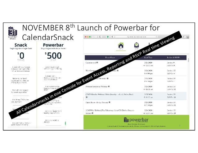NOVEMBER 8th Launch of Powerbar for CalendarSnack 2 All Calendarsnacks in one Console for Event Access, Reporting and RSVP...