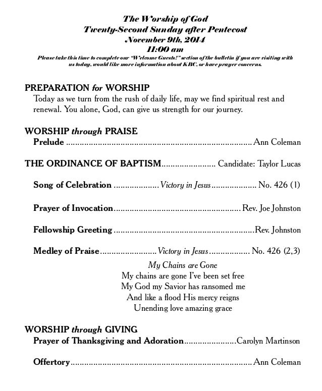 the worship of god at knightdale baptist church nov 9th 2014 bulletin