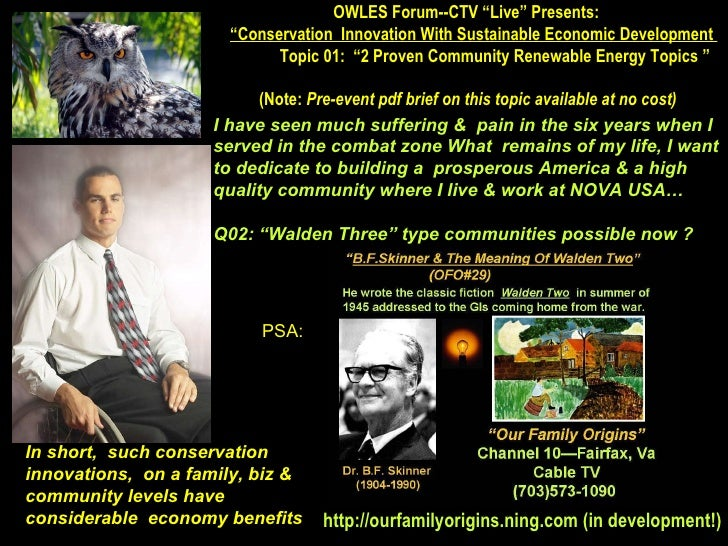 """OWLES Forum--CTV """"Live"""" Presents:  """" Conservation  Innovation With Sustainable Economic Development  Topic 01:  """"2 Proven ..."""