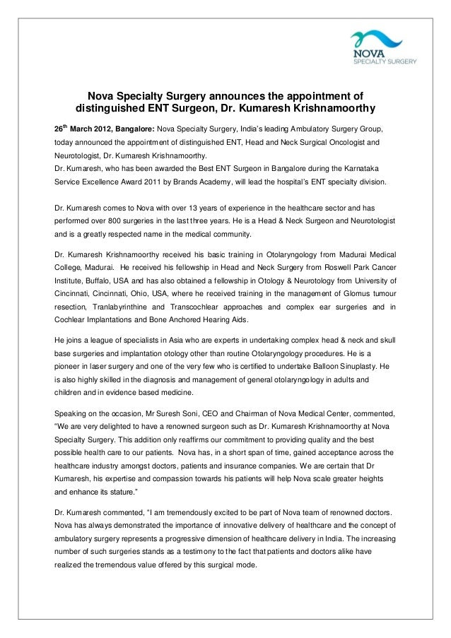 Nova Specialty Surgery announces the appointment of distinguished ENT Surgeon, Dr. Kumaresh Krishnamoorthy th  26 March 20...