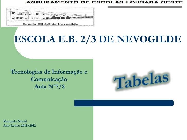 ESCOLA E.B. 2/3 DE NEVOGILDE    Tecnologias de Informação e           Comunicação            Aula Nº7/8Manuela NovalAno Le...
