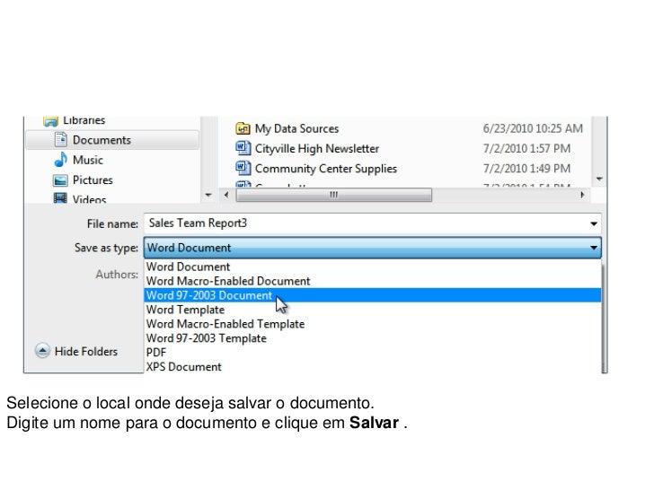 Selecione o local onde deseja salvar o documento.Digite um nome para o documento e clique em Salvar .