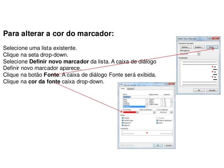 Para alterar a cor do marcador:Selecione uma lista existente.Clique na seta drop-down.Selecione Definir novo marcador da l...