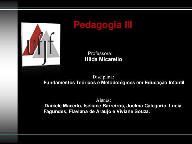 Pedagogia III                  Professora:                 Hilda Micarello                   Disciplina:Fundamentos Teóric...