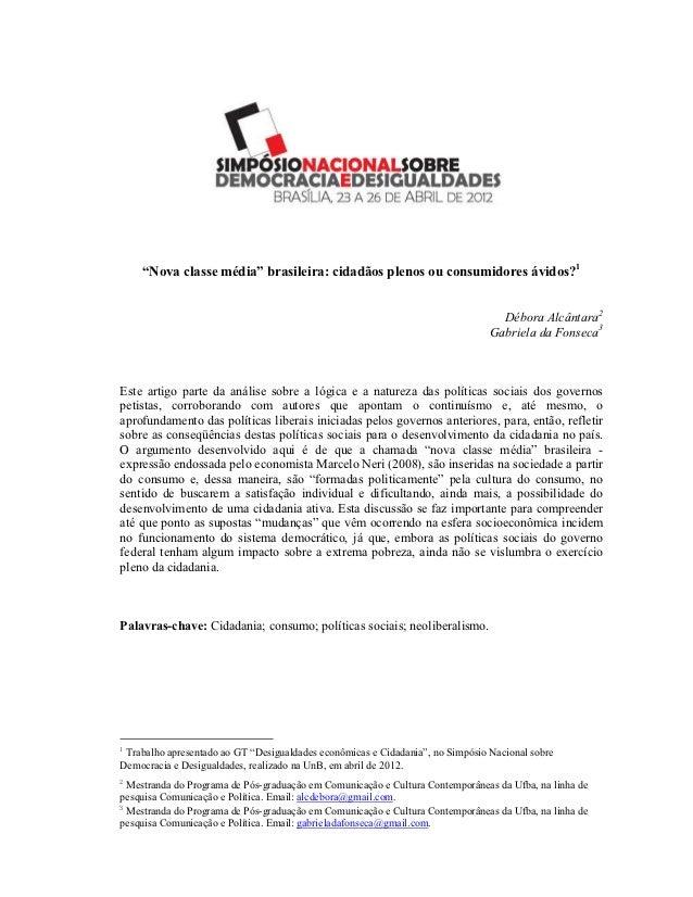 """"""" ova classe média"""" brasileira: cidadãos plenos ou consumidores ávidos?1                                                  ..."""