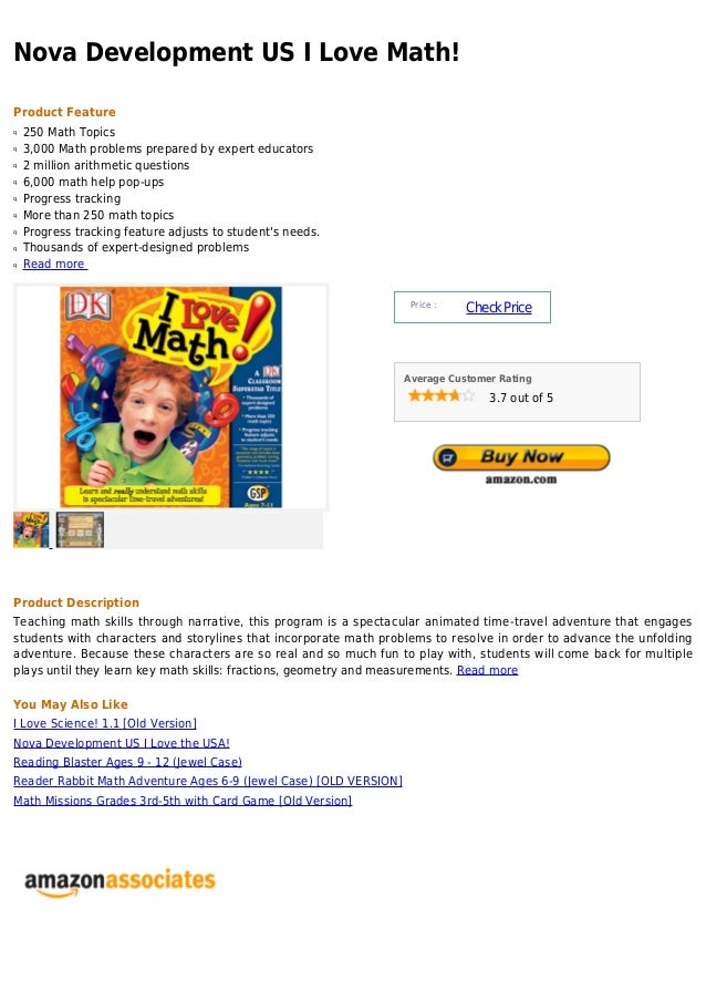 Nova Development US I Love Math!Product Featureq   250 Math Topicsq   3,000 Math problems prepared by expert educatorsq   ...