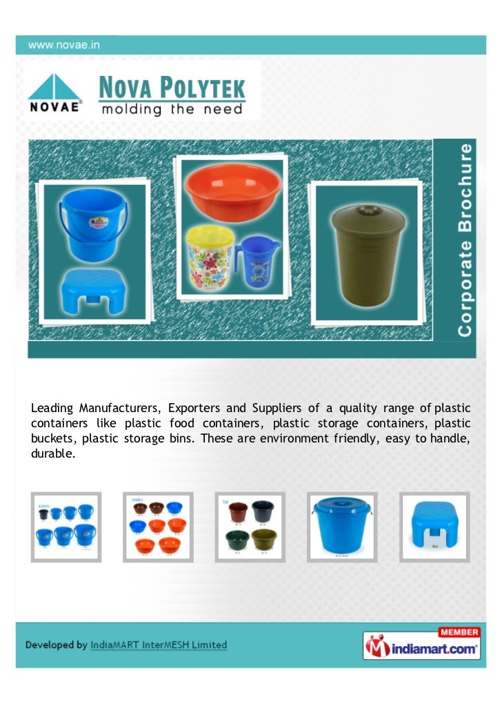 Leading Manufacturers, Exporters and Suppliers of a quality range of plasticcontainers like plastic food containers, plast...