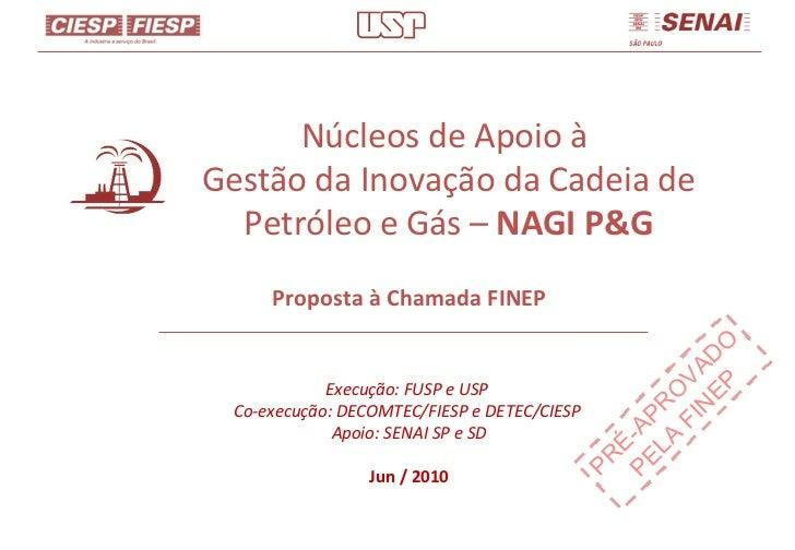 Núcleos de Apoio à  Gestão da Inovação da Cadeia de Petróleo e Gás –  NAGI P&G Proposta à Chamada FINEP Execução: FUSP e U...