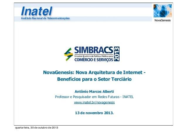 NovaGenesis: Nova Arquitetura de Internet Benefícios para o Setor Terciário Antônio Marcos Alberti Professor e Pesquisador...