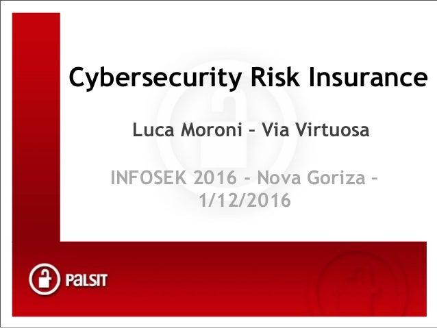Vaš partner za varovanje informacij Kliknite, če želite urediti slog Cybersecurity Risk Insurance Luca Moroni – Via Virtuo...
