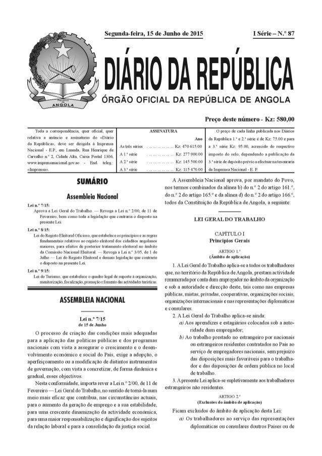 Nova lei geral do trabalho Angola 07/15