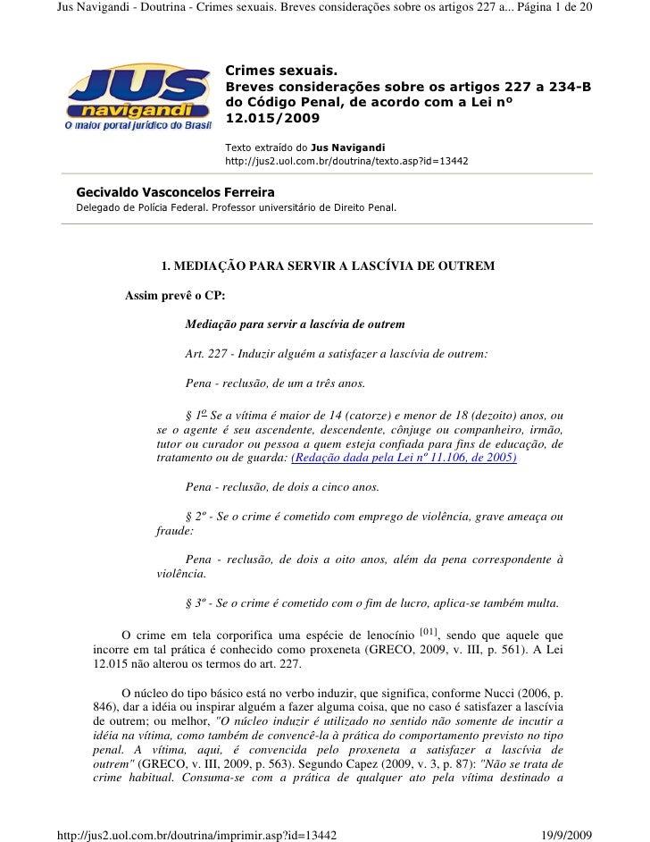 Jus Navigandi - Doutrina - Crimes sexuais. Breves considerações sobre os artigos 227 a... Página 1 de 20                  ...
