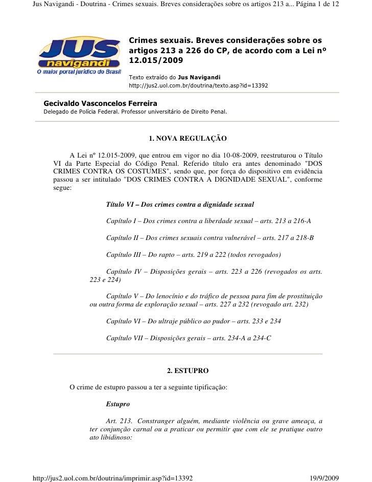 Jus Navigandi - Doutrina - Crimes sexuais. Breves considerações sobre os artigos 213 a... Página 1 de 12                  ...