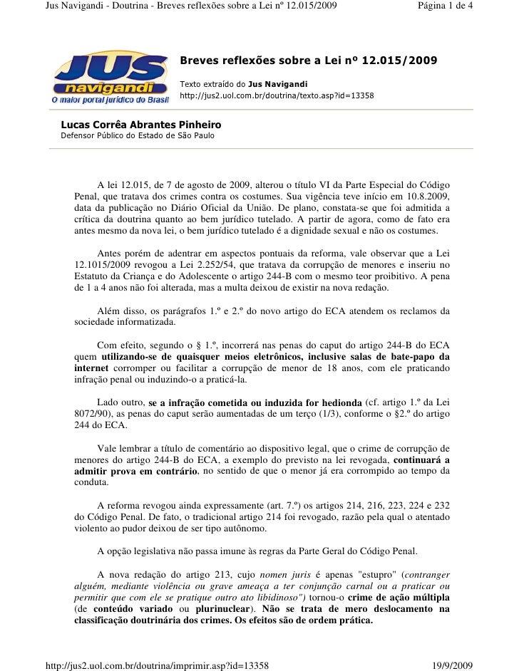 Jus Navigandi - Doutrina - Breves reflexões sobre a Lei nº 12.015/2009                      Página 1 de 4                 ...