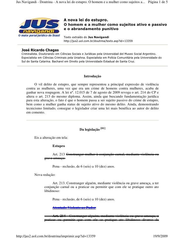 Jus Navigandi - Doutrina - A nova lei do estupro. O homem e a mulher como sujeitos a... Página 1 de 5                     ...