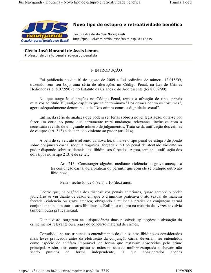 Jus Navigandi - Doutrina - Novo tipo de estupro e retroatividade benéfica                  Página 1 de 5                  ...