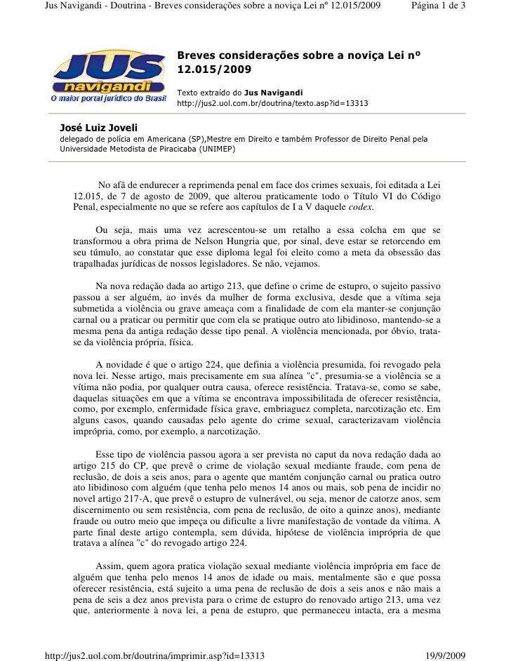 Jus Navigandi - Doutrina - Breves considerações sobre a noviça Lei nº 12.015/2009             Página 1 de 3               ...