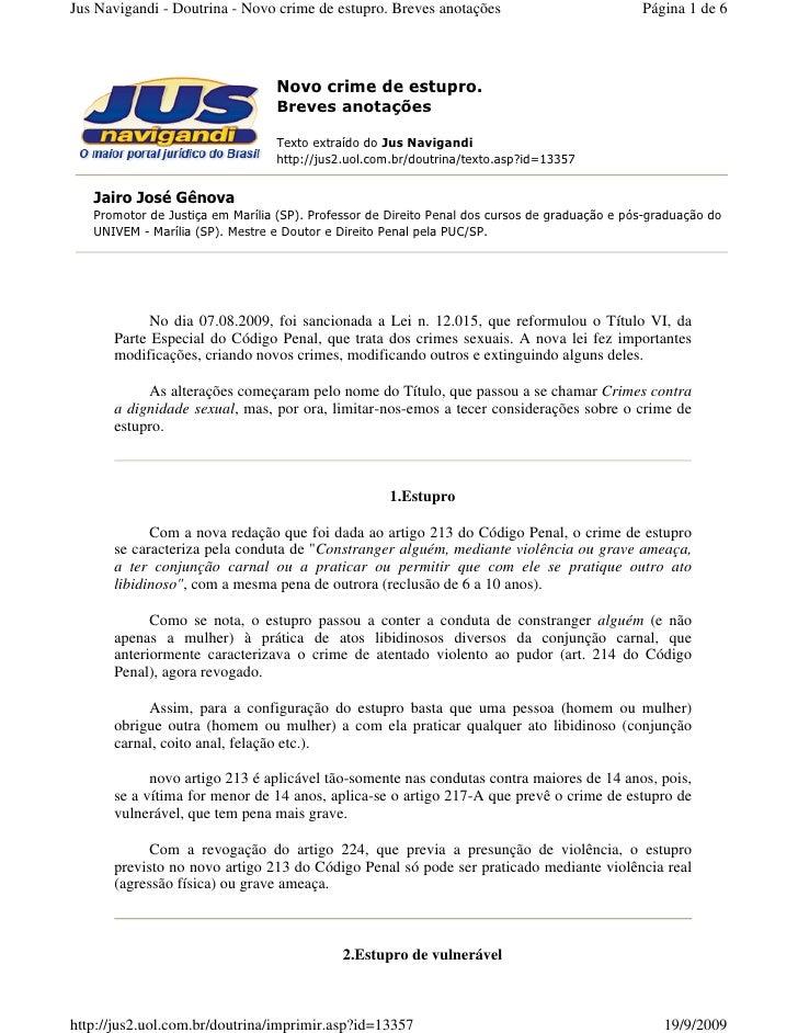Jus Navigandi - Doutrina - Novo crime de estupro. Breves anotações                             Página 1 de 6              ...