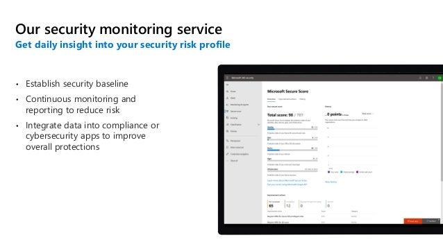 • Establish security baseline • Continuous monitoring and reporting to reduce risk • Integrate data into compliance or cyb...