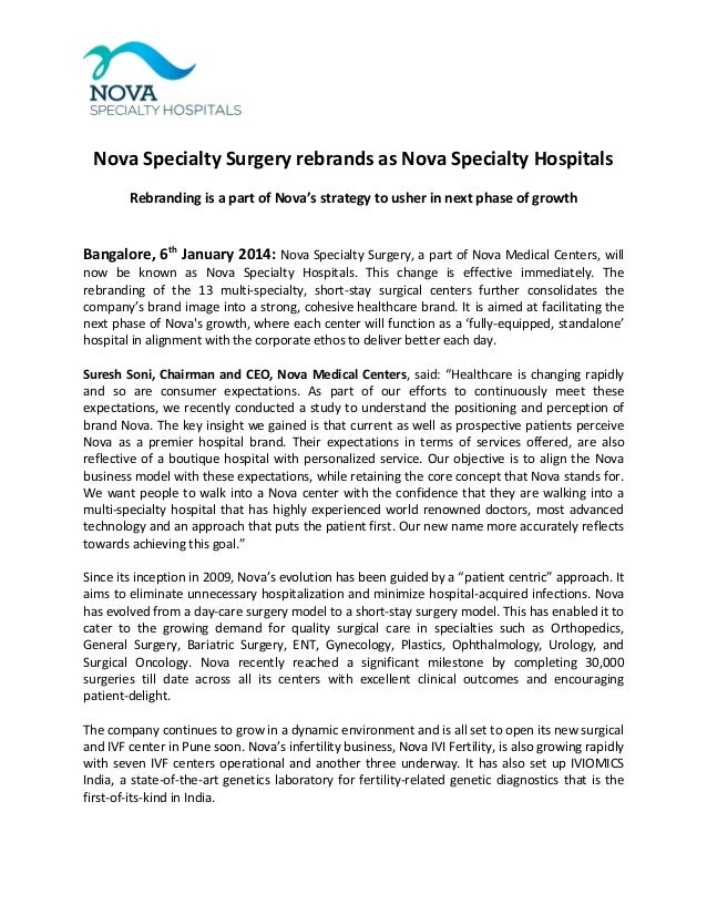 Nova Specialty Surgery rebrands as Nova Specialty Hospitals Rebranding is a part of Nova's strategy to usher in next phase...