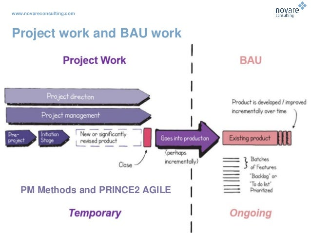 www.novareconsulting.com Project work and BAU work PM Methods and PRINCE2 AGILE