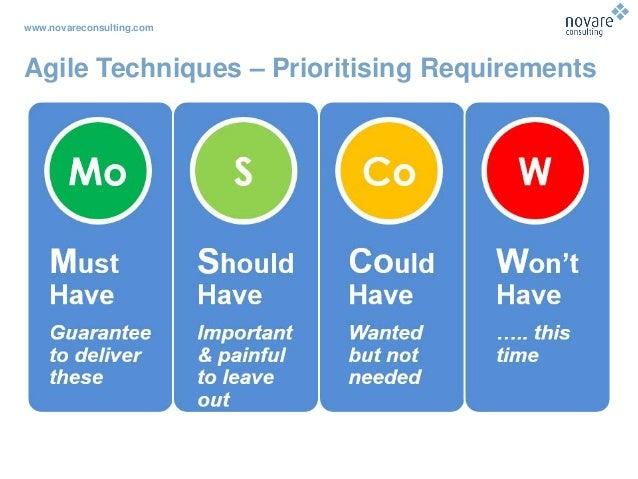 www.novareconsulting.com Agile Techniques – Prioritising Requirements
