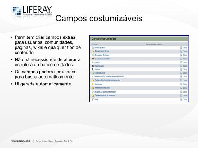 Campos costumizáveis ● Permitem criar campos extras para usuários, comunidades, páginas, wikis e qualquer tipo de conteúdo...