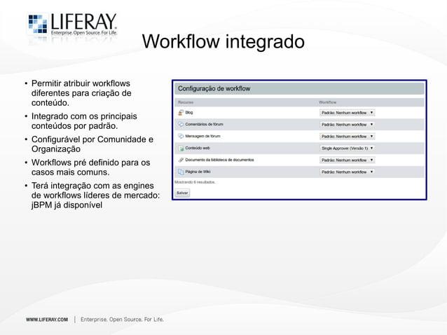 Workflow integrado ● Permitir atribuir workflows diferentes para criação de conteúdo. ● Integrado com os principais conteú...