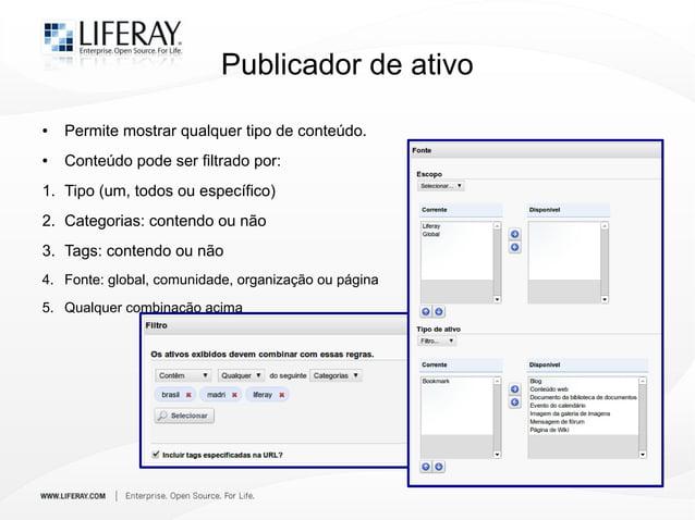 Publicador de ativo ● Permite mostrar qualquer tipo de conteúdo. ● Conteúdo pode ser filtrado por: 1. Tipo (um, todos ou e...