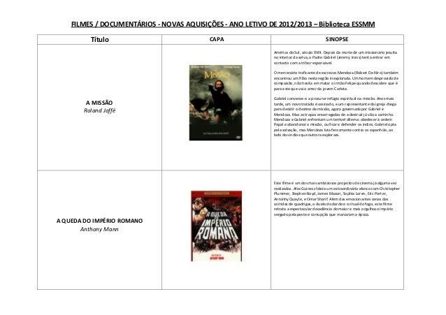 FILMES / DOCUMENTÁRIOS - NOVAS AQUISIÇÕES - ANO LETIVO DE 2012/2013 – Biblioteca ESSMMTítulo CAPA SINOPSEA MISSÃORoland Jo...