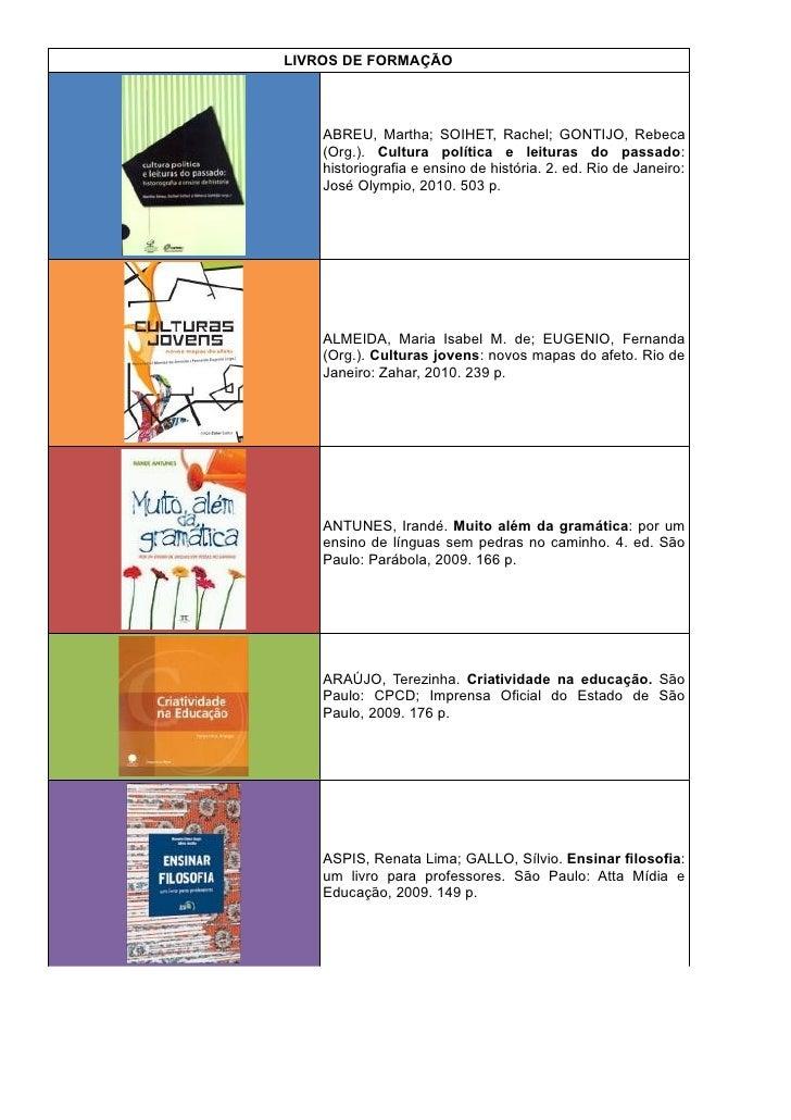 LIVROS DE FORMAÇÃO    ABREU, Martha; SOIHET, Rachel; GONTIJO, Rebeca    (Org.). Cultura política e leituras do passado:   ...