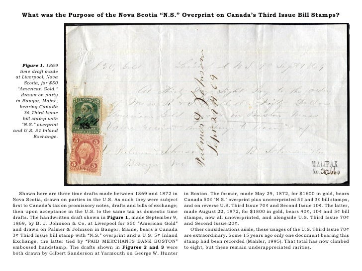 """What was the Purpose of the Nova Scotia """"N.S."""" Overprint on Canada's Third Issue Bill Stamps?    Figure 1. 1869   time dra..."""
