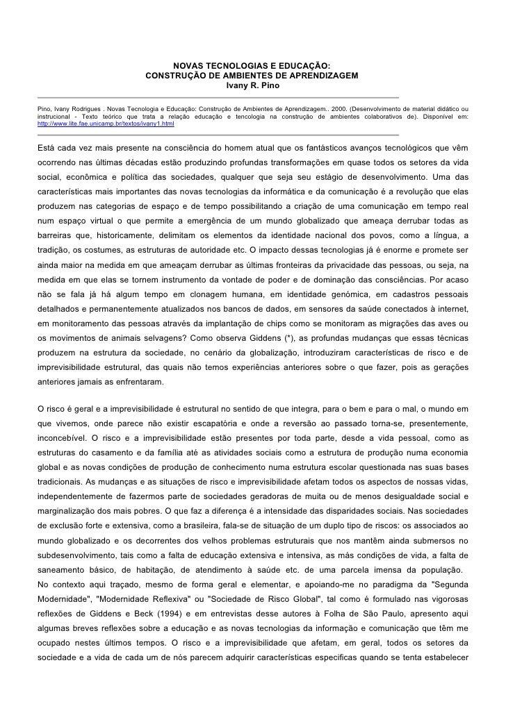 NOVAS TECNOLOGIAS E EDUCAÇÃO:                                    CONSTRUÇÃO DE AMBIENTES DE APRENDIZAGEM                  ...