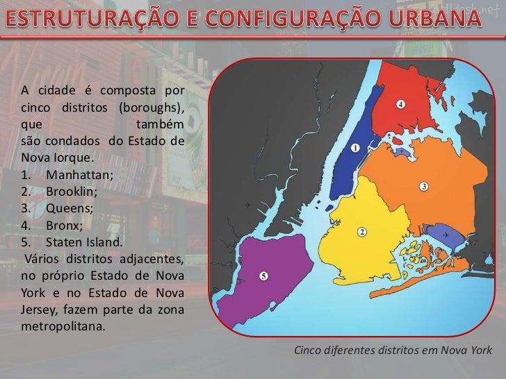 ESTRUTURAÇÃO E CONFIGURAÇÃO URBANA<br />A cidade é composta por cinco distritos (boroughs), que também sãocondados do Es...
