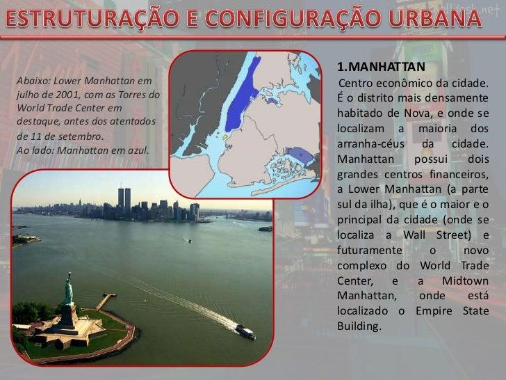 ESTRUTURAÇÃO E CONFIGURAÇÃO URBANA<br />MANHATTAN <br />Centro econômico da cidade. É o distrito mais densamente habitado ...