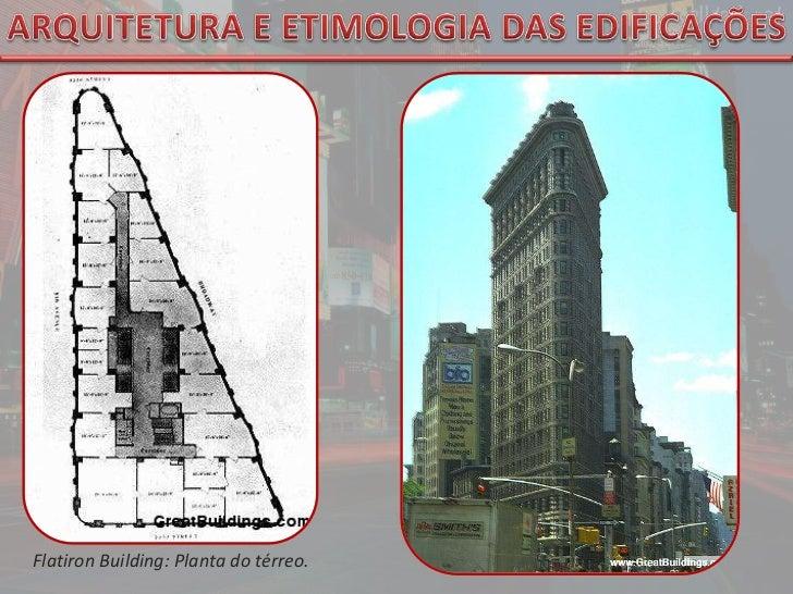 ARQUITETURA E ETIMOLOGIA DAS EDIFICAÇÕES<br />FlatironBuilding: Planta do térreo.<br />