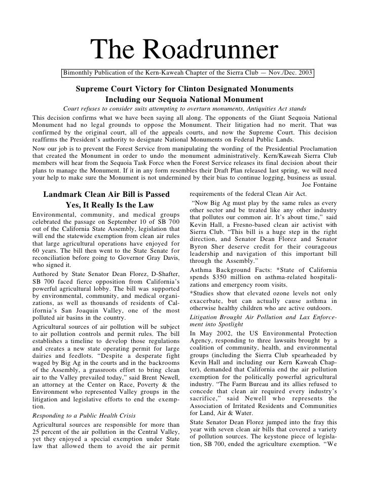 The Roadrunner           BimonthlyPublicationoftheKern-KaweahChapteroftheSierraClub—Nov./Dec.2003             ...