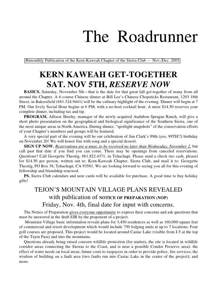 The Roadrunner   Bimonthly Publication of the Kern-Kaweah Chapter of the Sierra Club — Nov./Dec. 2005            KERN KAWE...