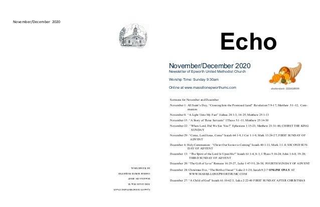 EpworthUnitedMethodistChurch 3061LincolnWayW. MassillonOH44647 CHANGESERVICEREQUESTED DATEDMATERIAL November/December 2020...