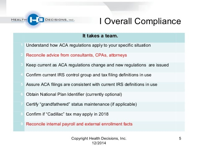 Health Decisions Webinar: ACA Compliance Checklist - Are You Ready fo…